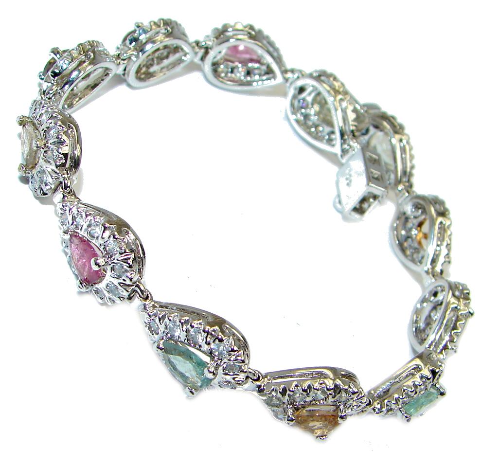 Genuine Multicolor Tourmaline  Sterling Silver handmade Bracelet