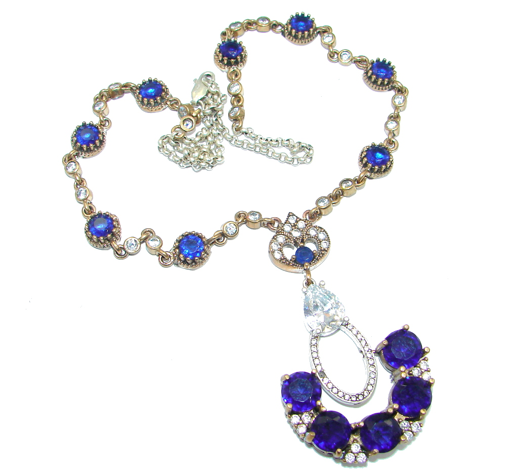 Elegant Victorian Style created Sapphire & White Topaz copper over Sterling Silver necklace
