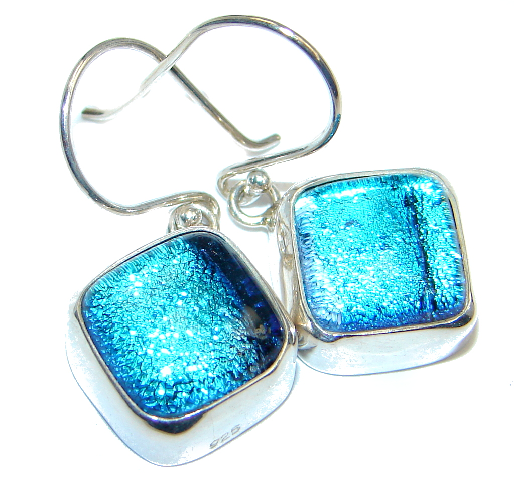 Handcrafted In Mexico Dichroic Glass Sterling Silver earrings
