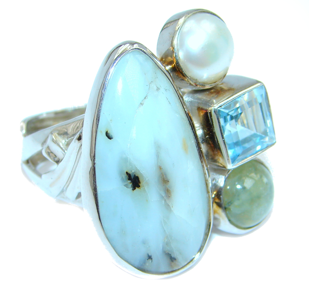 Snow Queen AAA Dendritic Agate Sterling Silver Ring size adjustable