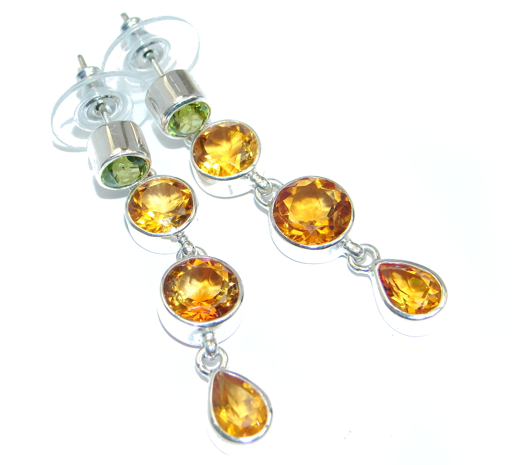Handcrafted Yellow Golden Topaz Sterling Silver earrings