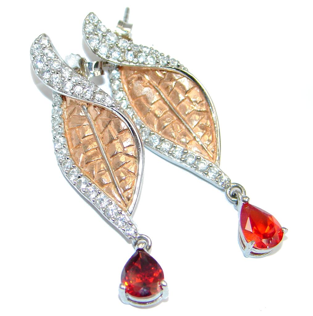 Genuine Garnet Two Tones Sterling Silver handmade stud earrings