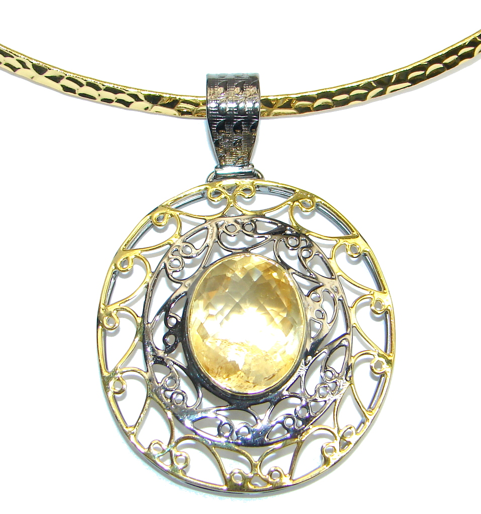 Mexican Summer Genuine Citrine Gold plated Sterling Silver handmade Necklace