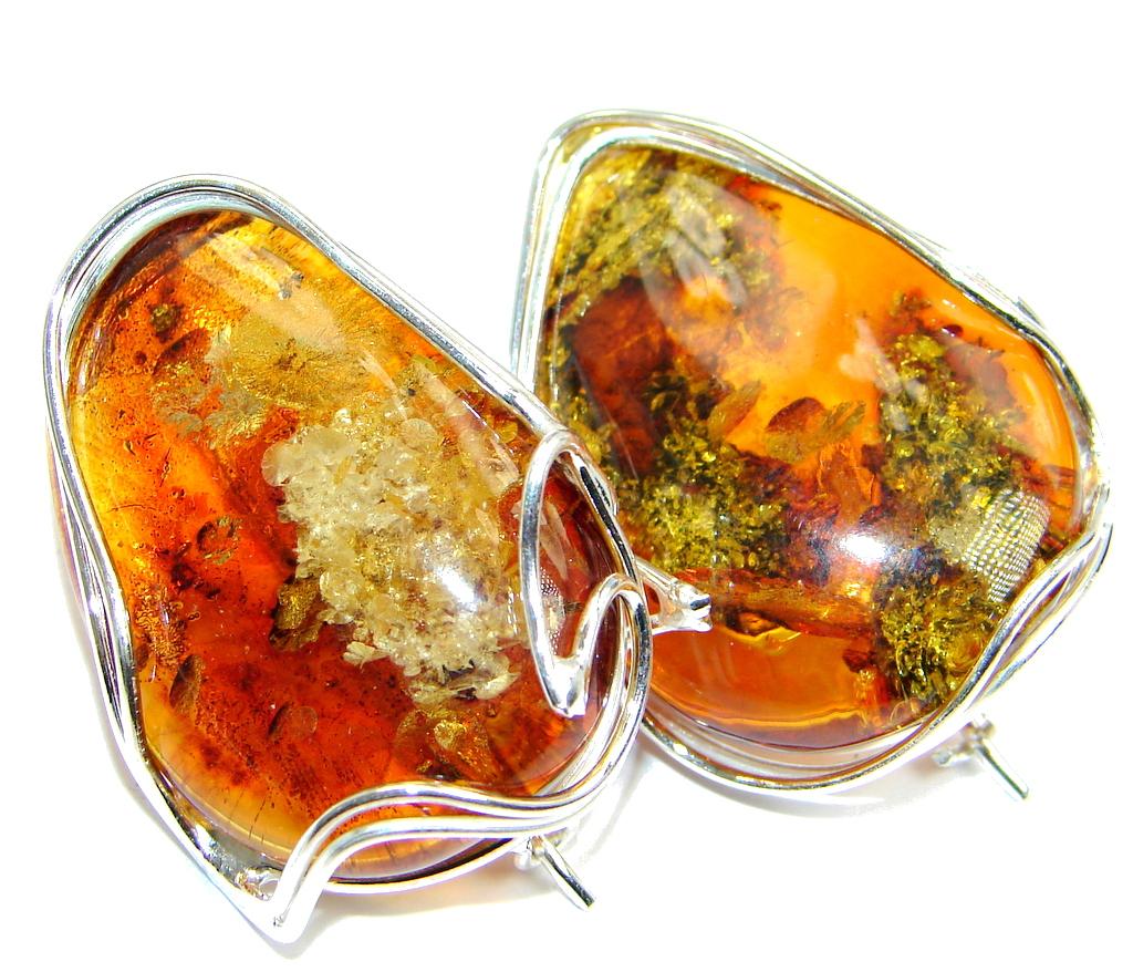 Huge Classy Baltic Amber Sterling Silver earrings