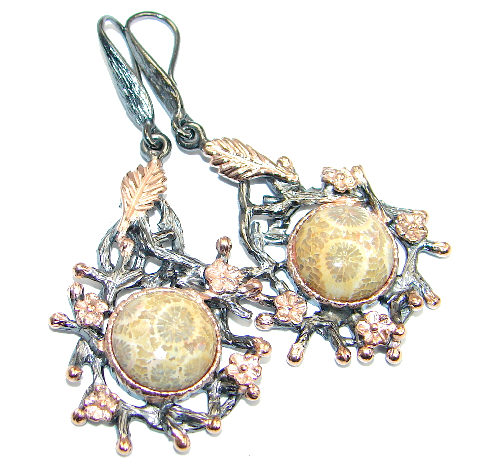 Genuine Fossilized Coral Rose Gold plated over Sterling Silver earrings