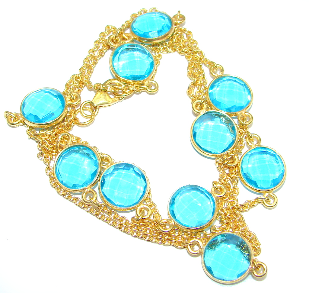 36 inches simulated Blue Topaz Gold plated over Sterling Silver handmade Necklace