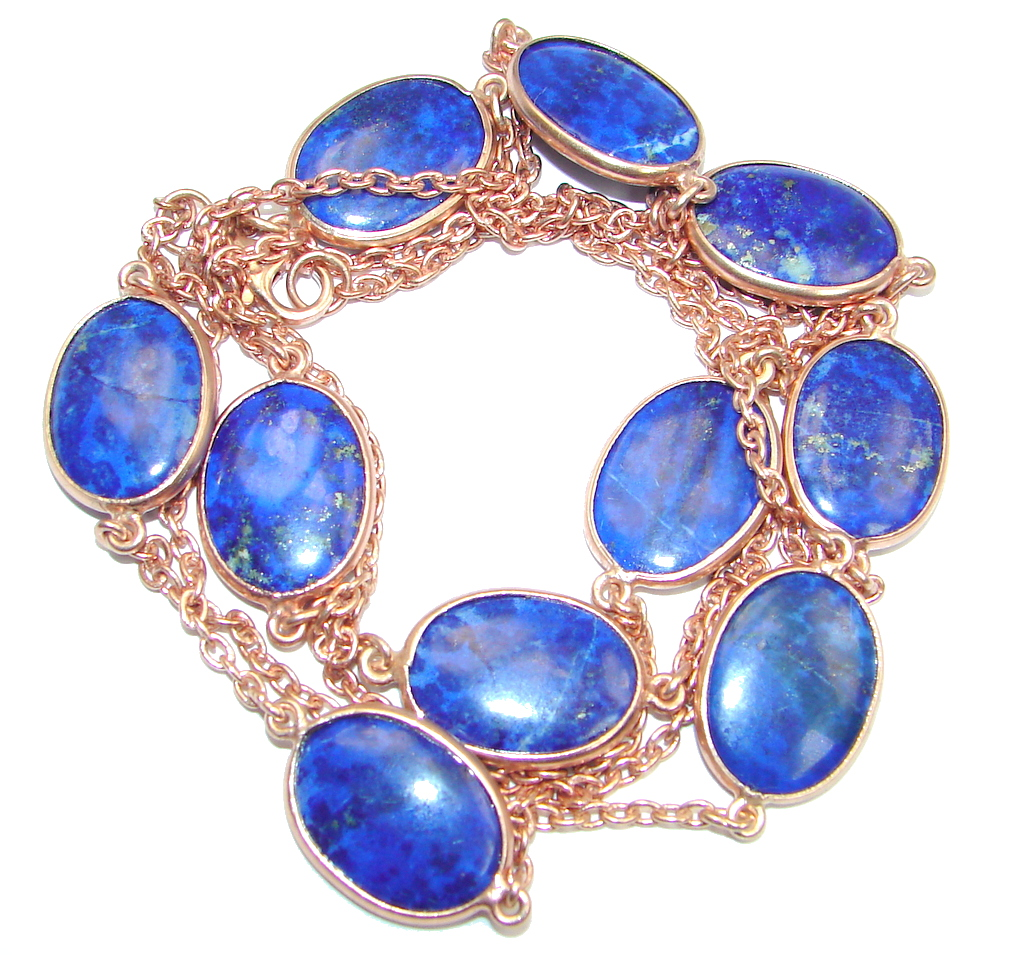 36 inches genuine Lapis Lazuli Rose Gold plated over Sterling Silver Necklace