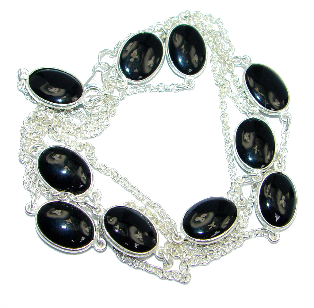 36 inches Genuine Onyx Sterling Silver handmade Necklace