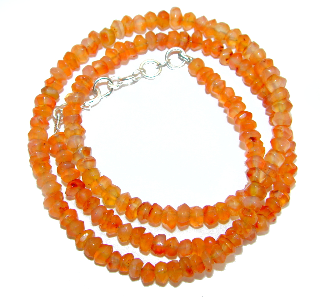 Tropical Orange Carnelian Sterling Silver handmade Necklace