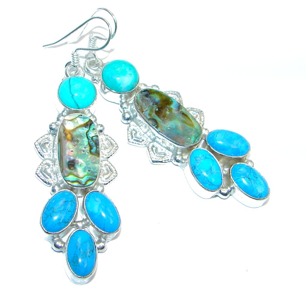Genuine Rainbow Abalone Silver Tone handmade earrings