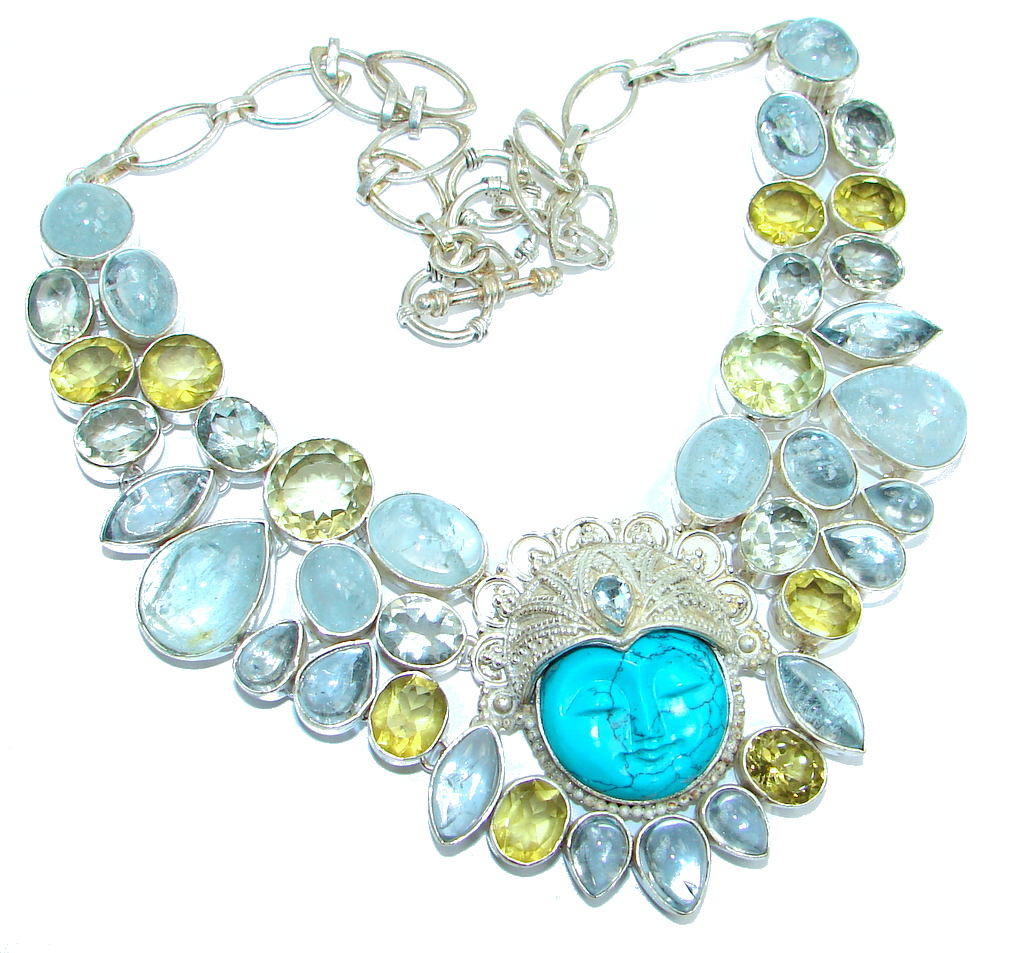 Chunky Exclusive Apatite Citrine Amethyst Sterling Silver handmade Necklaces