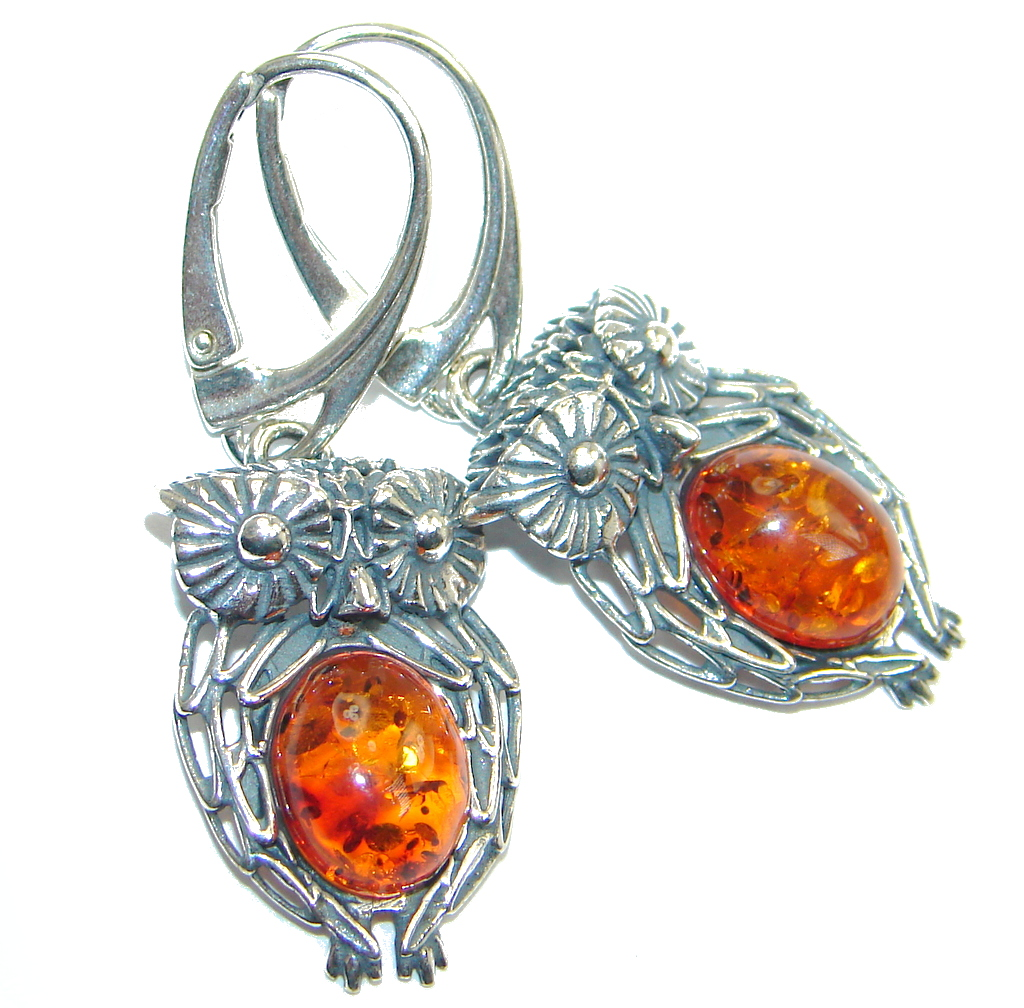Owls Baltic Amber Oxidized Sterling Silver handmade earrings