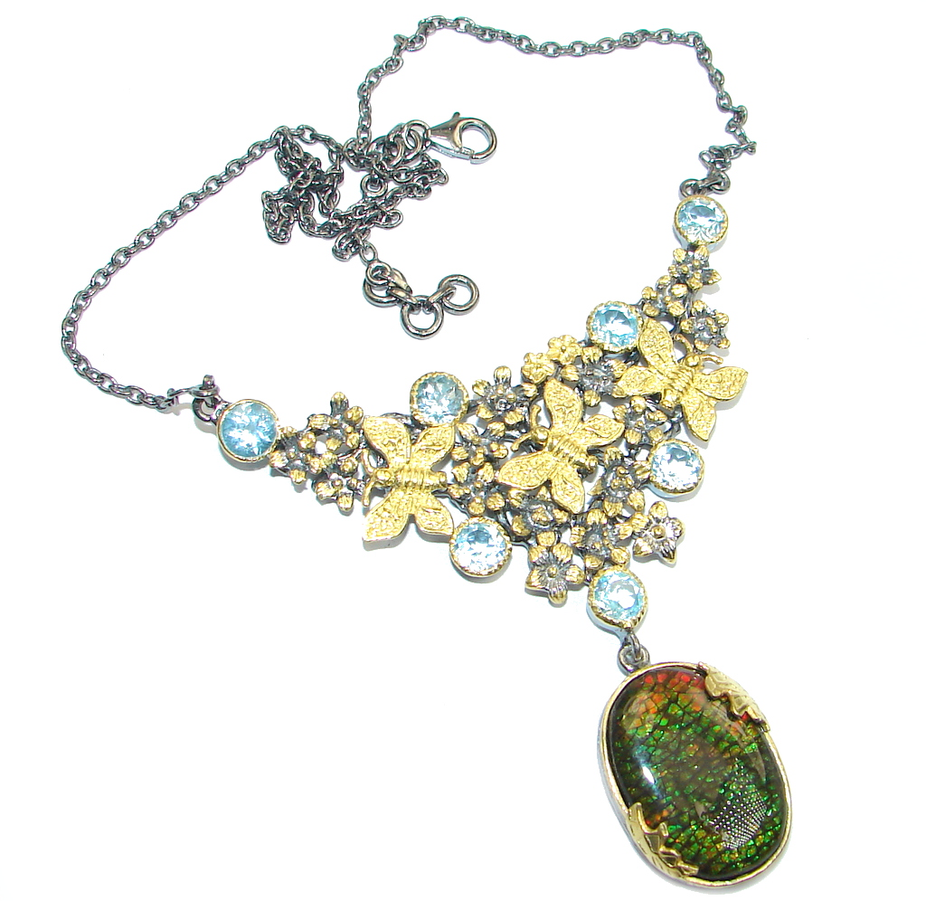 One of the kind Natural Canadian Ammolite Gold Rhodium plated over Sterling Silver handmade necklace