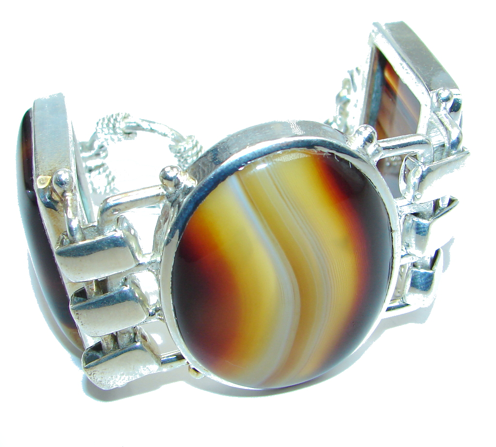 81g. Huge Gift of Nature Botswana Agate Silver Tone handcrafted Bracelet