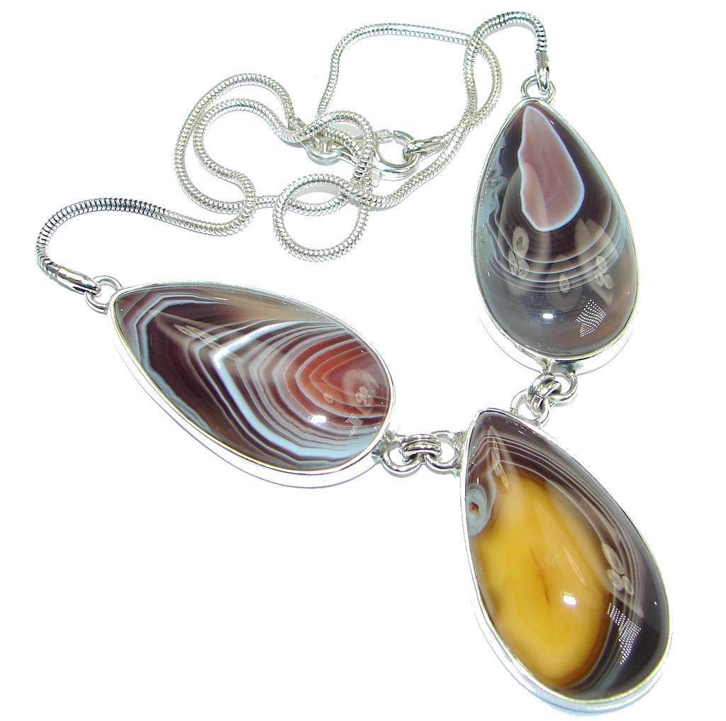 Giant Aura Of Beauty Natural Botswana Agate Sterling Silver handmade necklace
