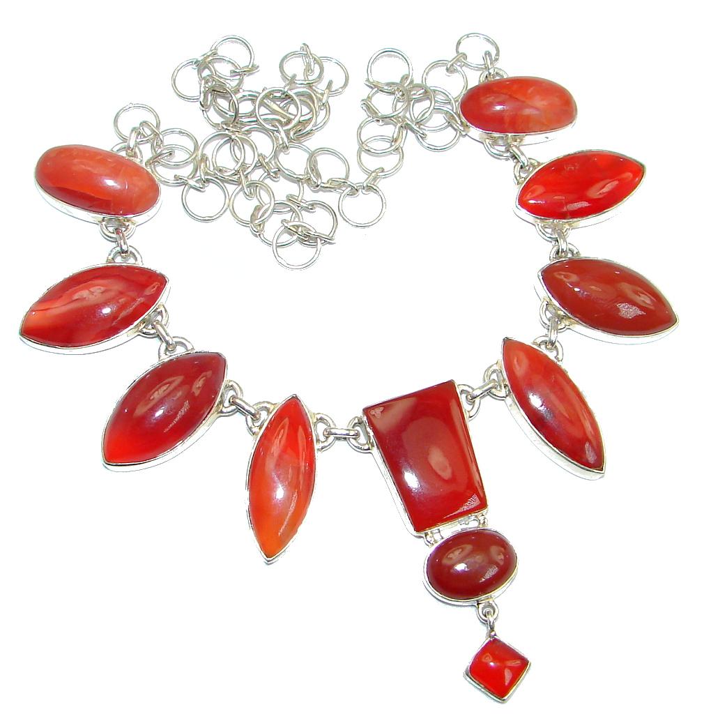 Chunky Carnelian Sterling Silver handmade necklace