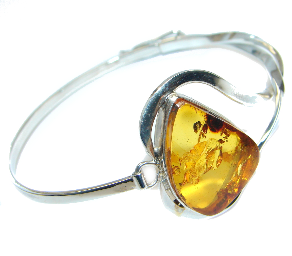 Gorgeous AAA quality Polish Amber Sterling Silver Bracelet / Cuff
