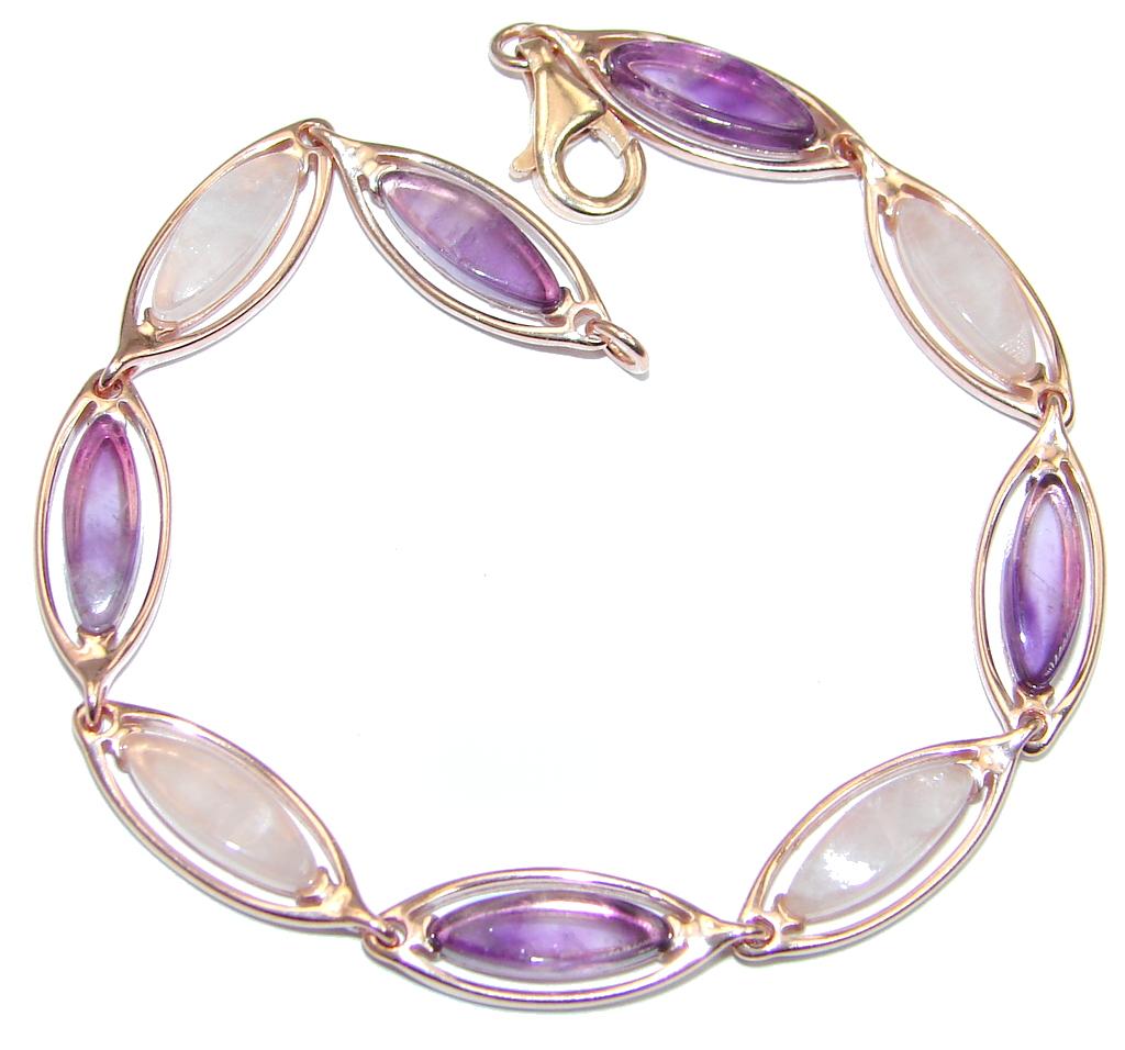Sublime Rose Quartz Amethyst Rose Gold plated over Sterling Silver handmade Bracelet