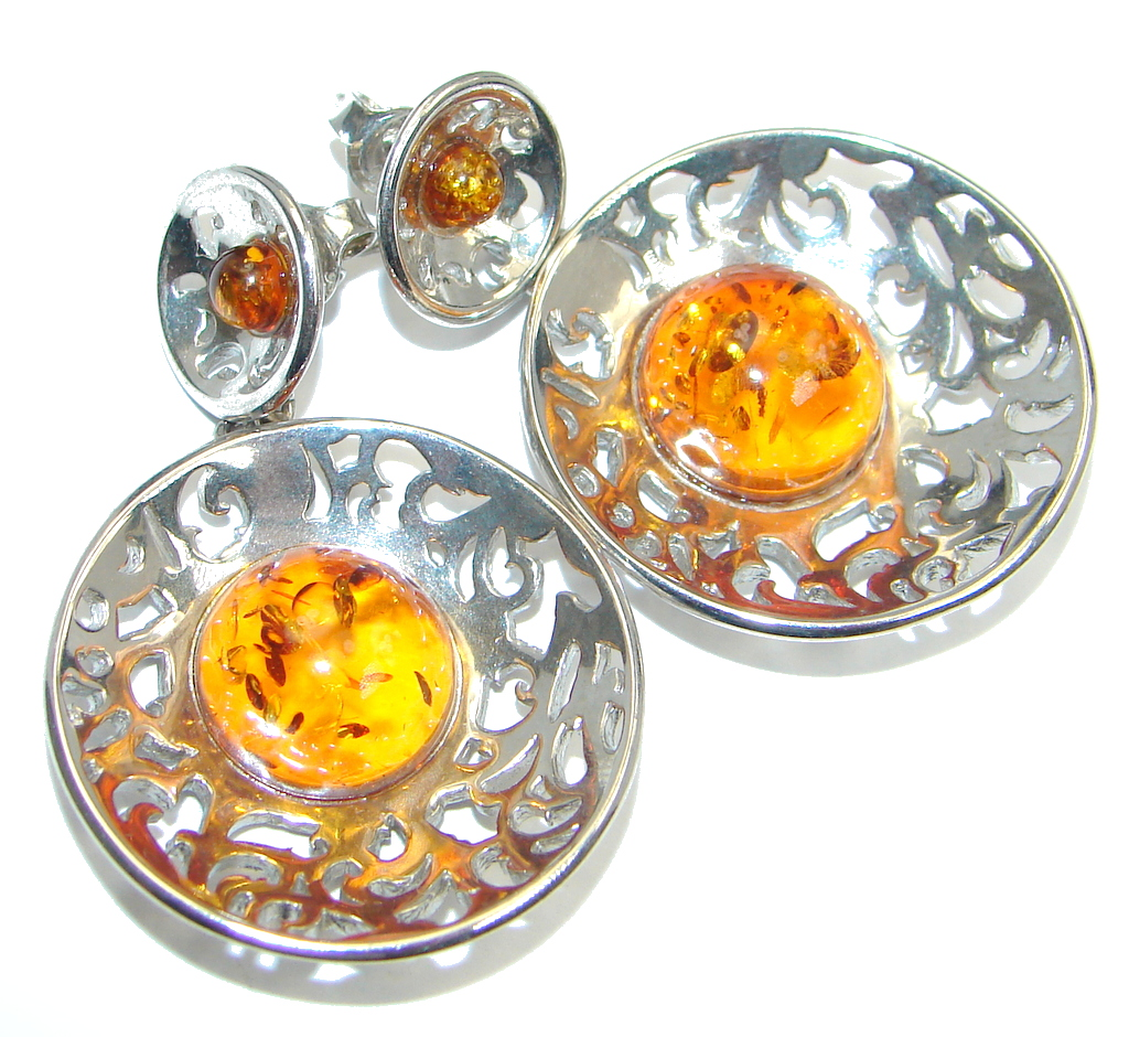 Baltic Amber Oxidized Sterling Silver handmade stud earrings