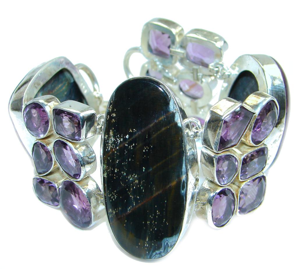 Chunky  Amethyst Pietersite Agate Sterling Silver handmade Bracelet