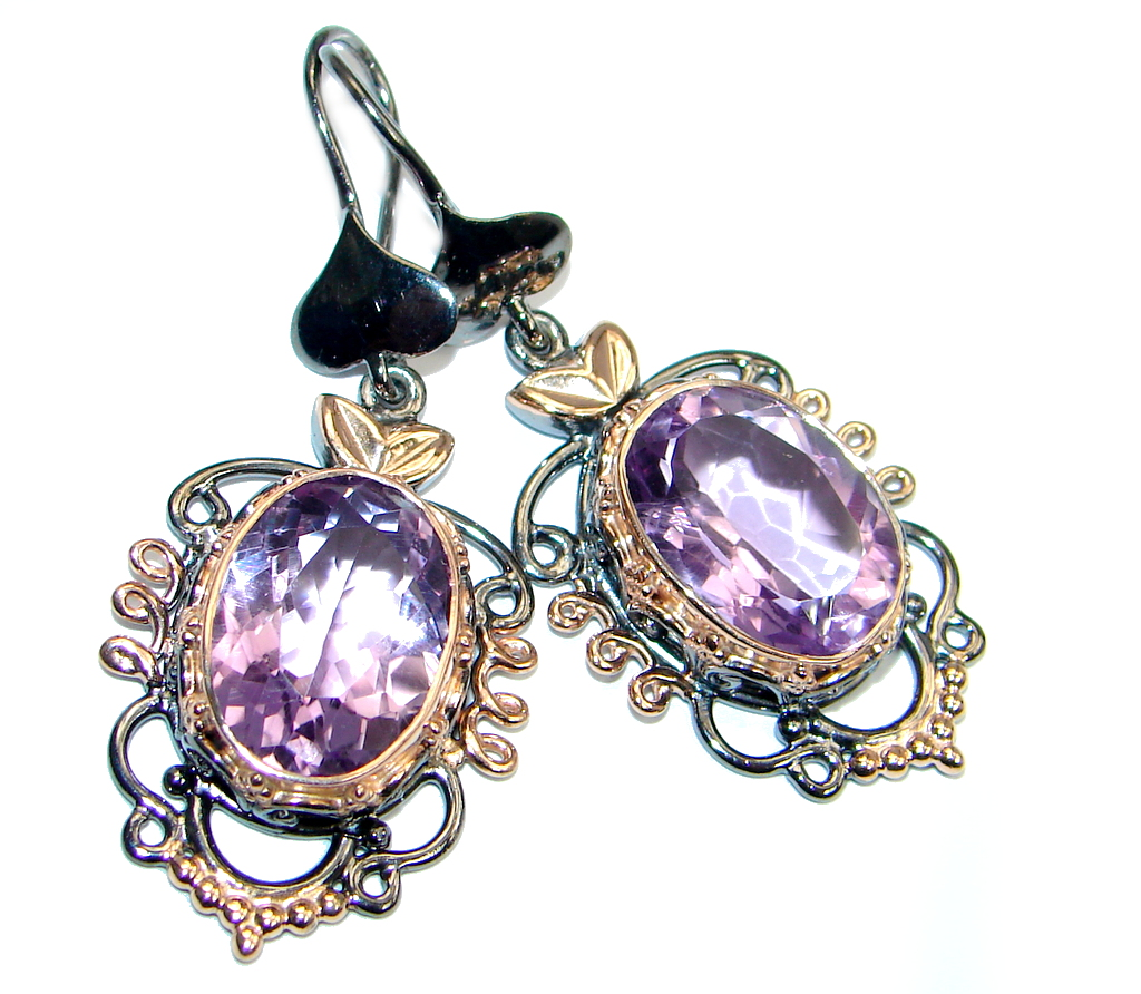 Genuine Amethyst Rose Gold plated over Sterling Silver handmade earrings