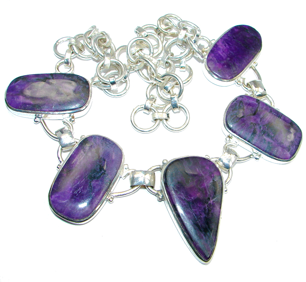 Large Aura Of Beauty Purple Moss Agate Silver Tone necklace