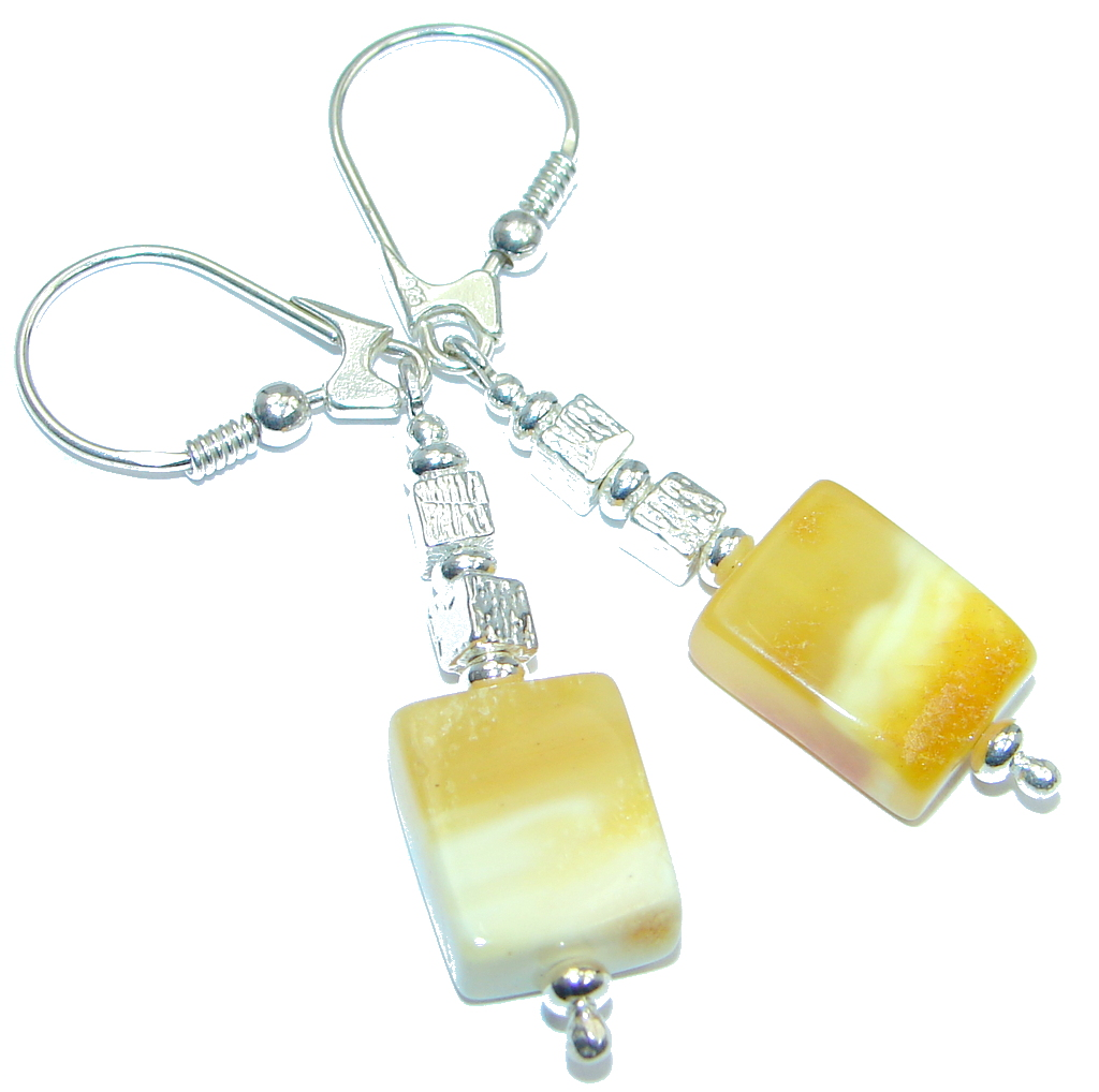Cute Baltic Amber Sterling Silver handmade earrings