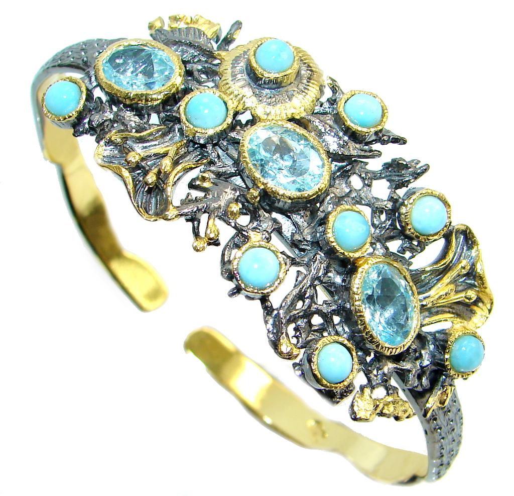 Genuine Blue Larimar 18 ct Gold Rhodium plated over Sterling Silver handmade Bracelet Cuff