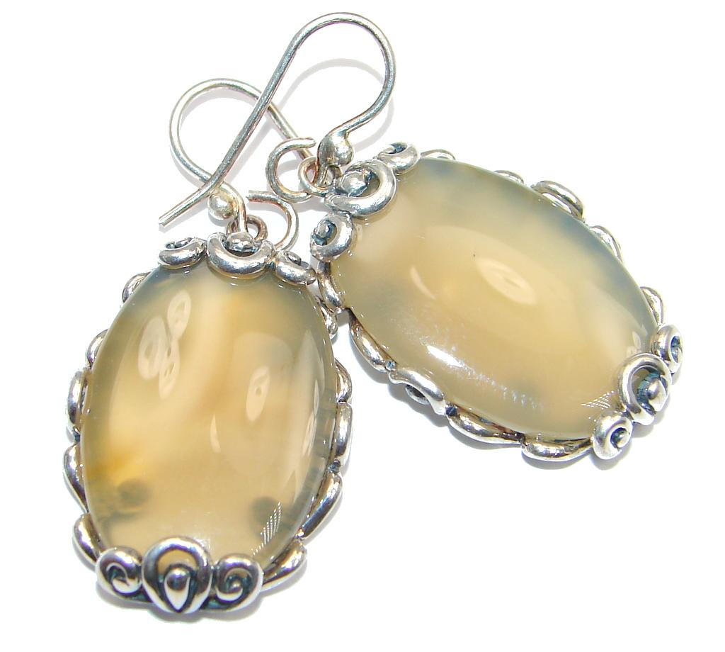 Simple Orange Mexican Agate Sterling Silver earrings