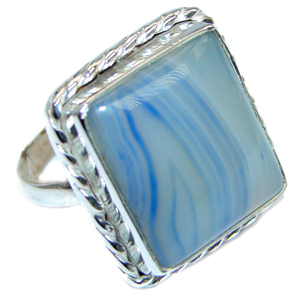 Royal Design Botswana Agate Sterling Silver handmade ring size 8