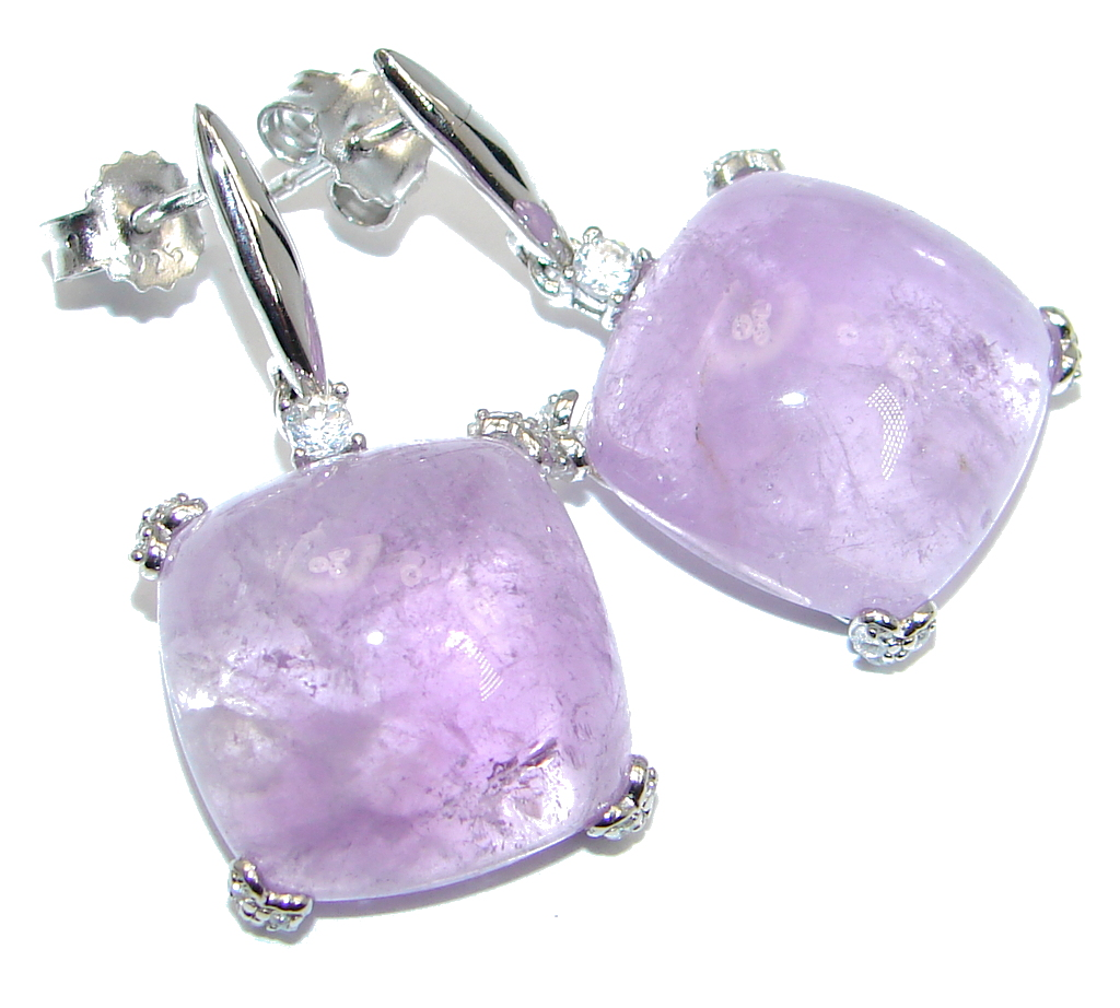 Perfect Natural Amethyst Sterling Silver handmade earrings