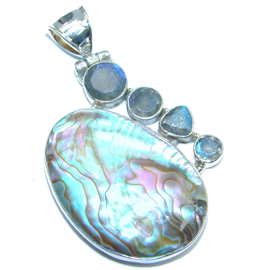 Fancy Rainbow Abalone Sterling Silver handmade Pendant