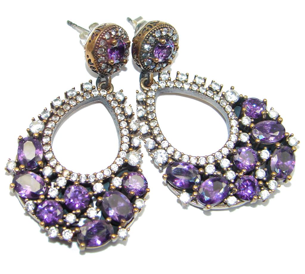 Chunky Rainbow Magic Cubic Zirconia Sterling Silver handmade earrings