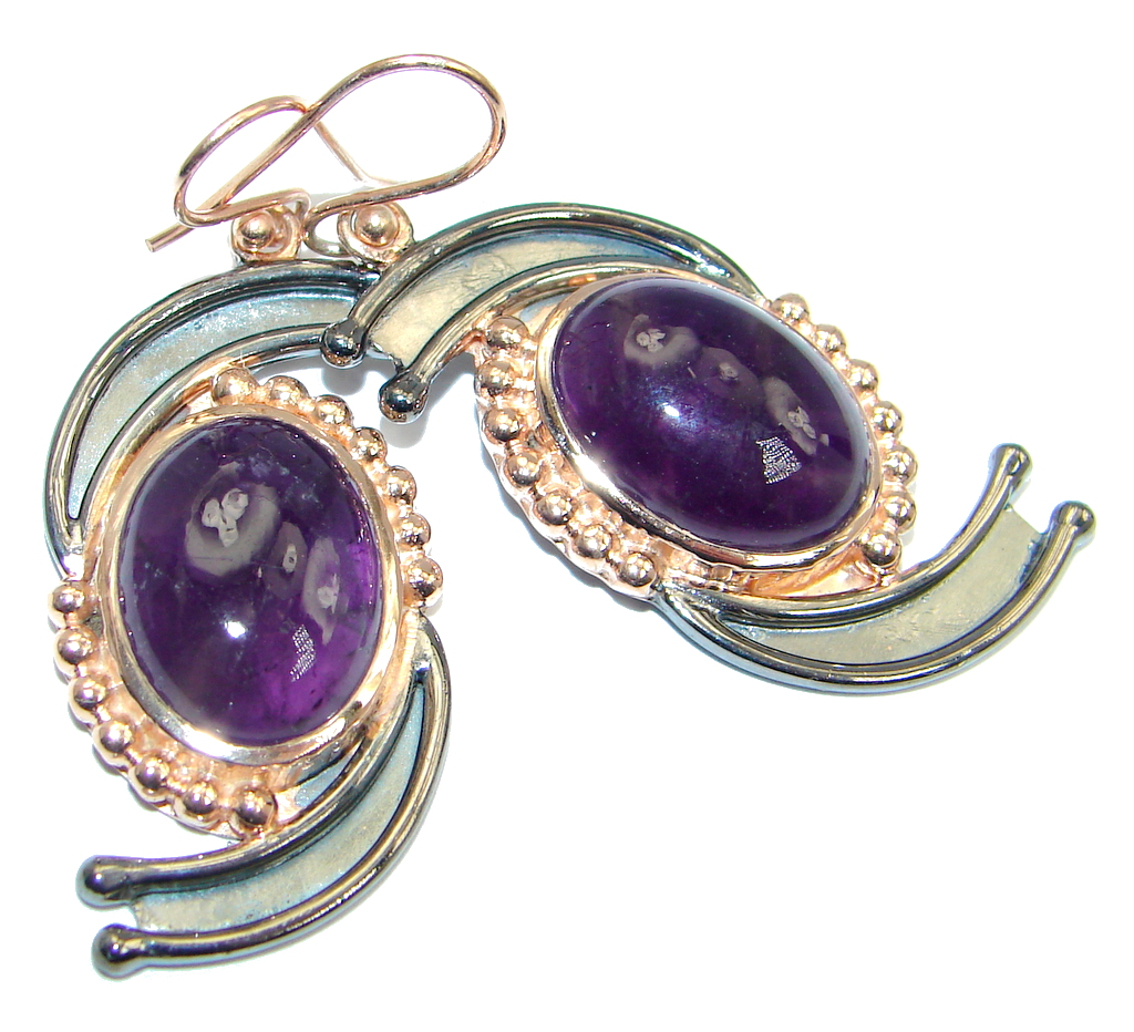 Flawless Amethyst Rose Gold plated over Sterling Silver handmade earrings