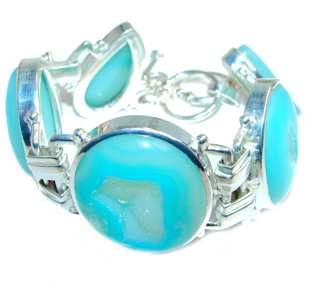 Secret Baby Blue Agate Druzy Sterling Silver handmade Bracelet