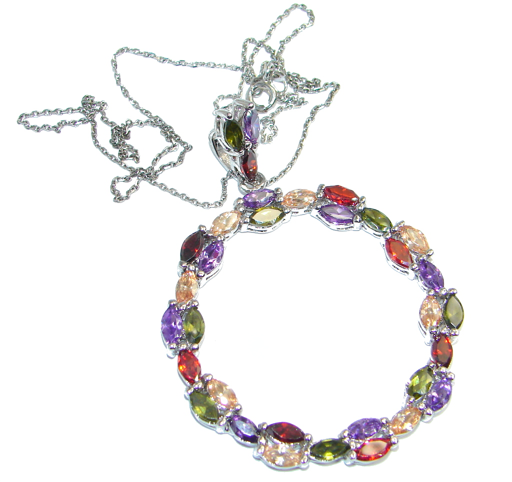 Circle of Life Cubic Zirconia Rhodium Sterling Silver necklace