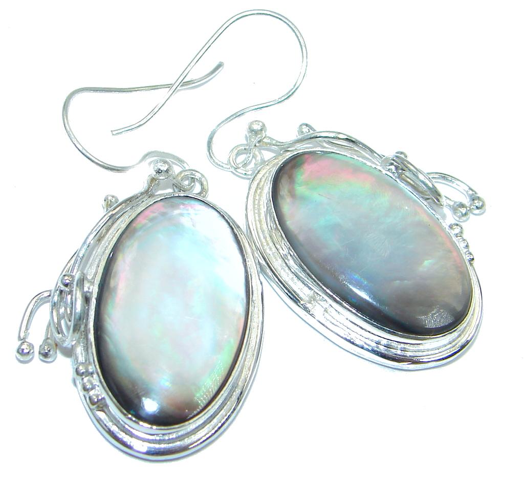 Genuine Rainbow Abalone Sterling Silver handmade earrings
