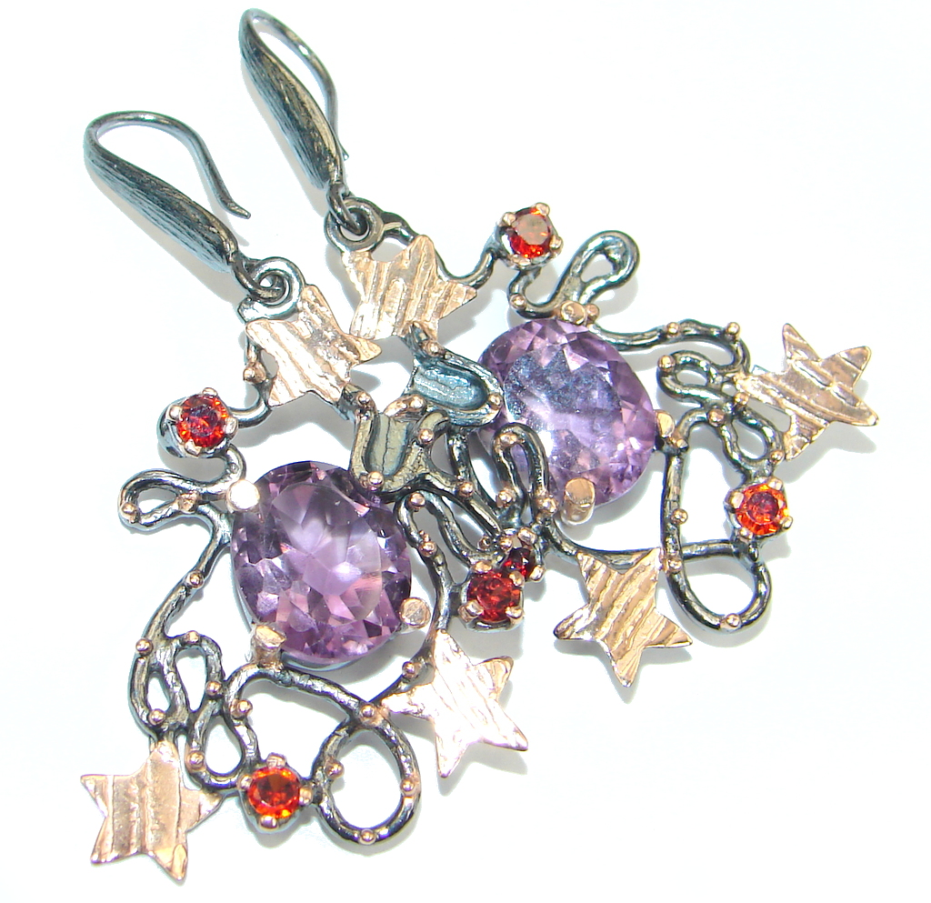 Genuine Amethyst Rose Gold plated over Sterling Silver Handcrafted earrings