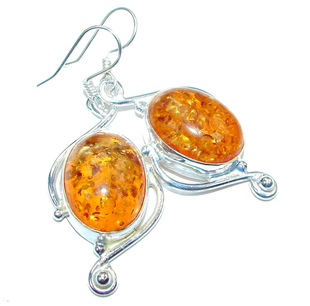 Great created amber Silver Tone earrings