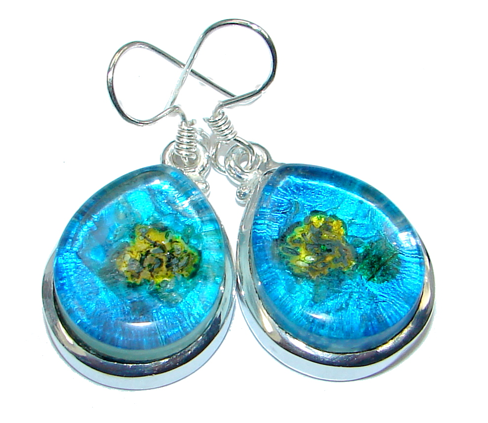 Handcrafted In Mexico Dichroic Glass Silver Tone earrings