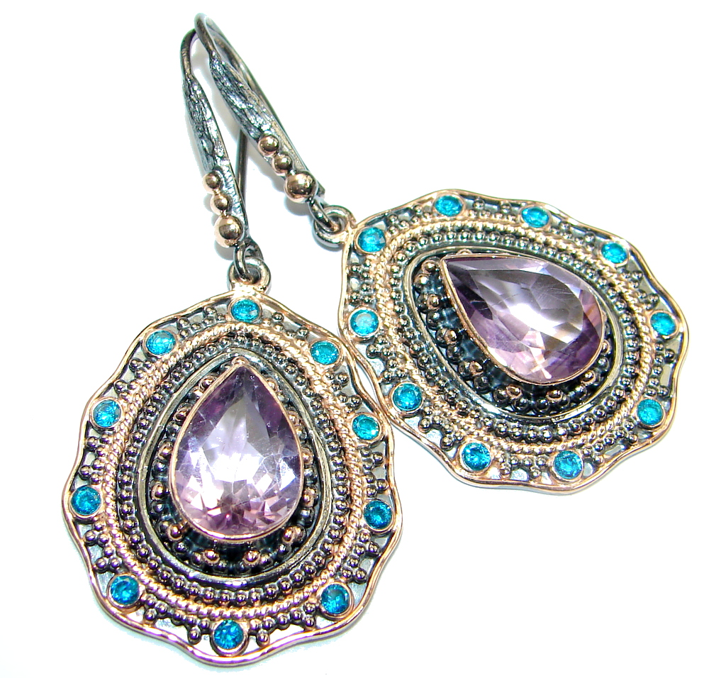 Flawless Amethyst Rose Gold plated over Sterling Silver entirely handmade earrings