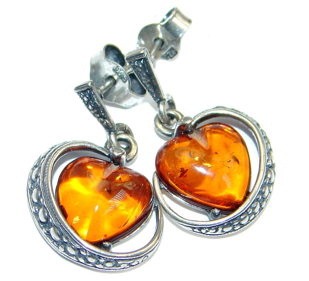 Luxury Genuine Baltic Polish Amber Sterling Silver Earrings