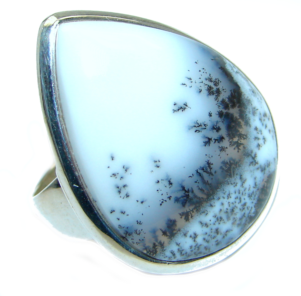 Great Dendritic Agate Sterling Silver hancrafted Ring s. 7 1/2