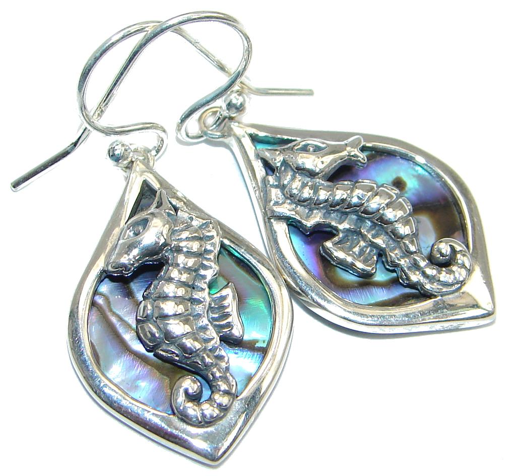 Seahorse Genuine Rainbow Abalone Sterling Silver handmade earrings