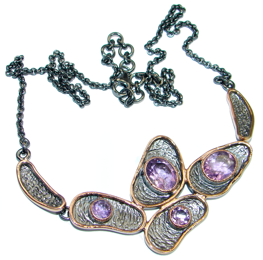 Fine Art Genuine Amethyst Garnet Rose Gold plated over Sterling Silver handmade necklace