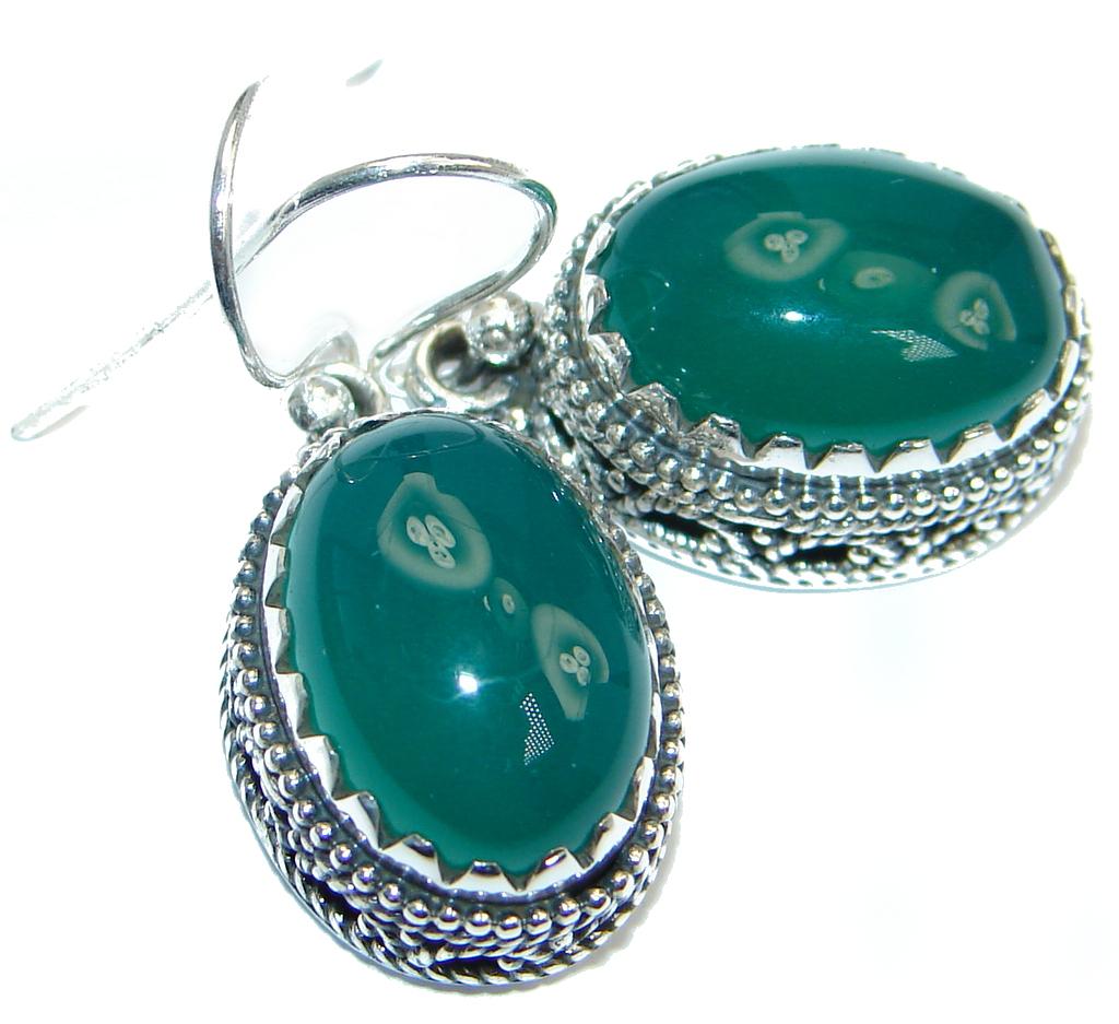 Rich Design Agate Sterling Silver handmade earrings