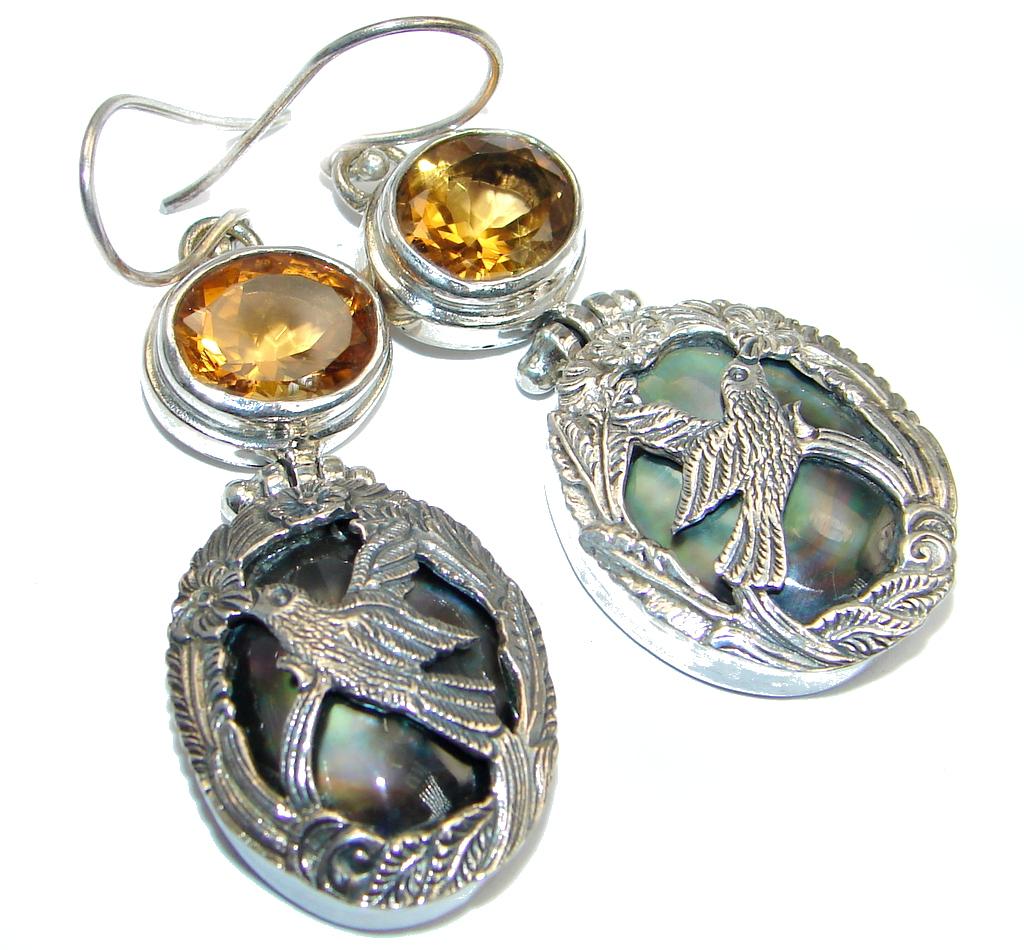 Large Bird Genuine Rainbow Abalone Sterling Silver handmade earrings