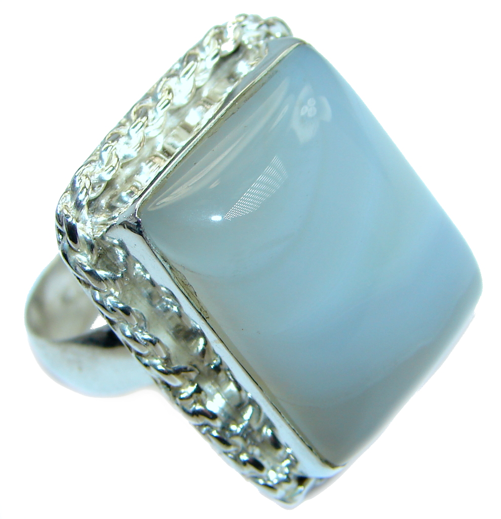 Delicate Light Blue Lace Agate Sterling Silver Ring s. 8