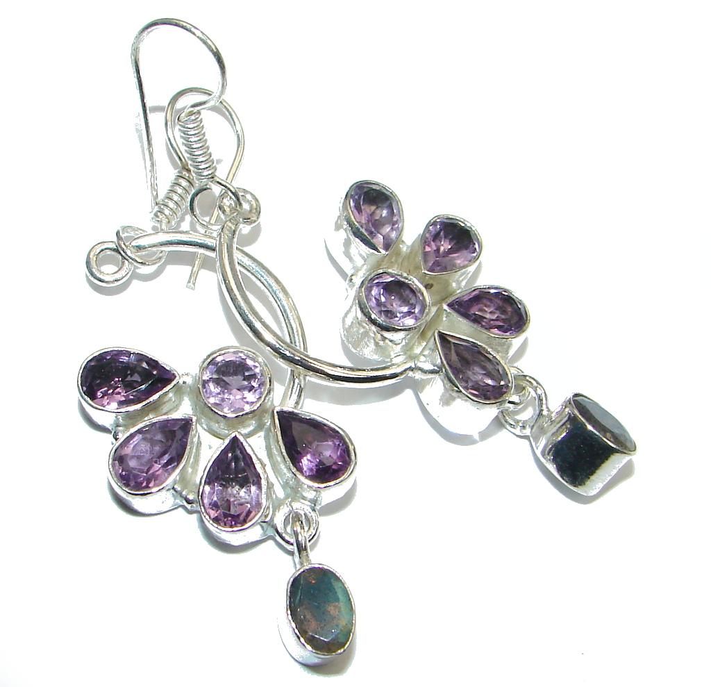 Huge Amethyst Labradorite Silver Tone handmade earrings