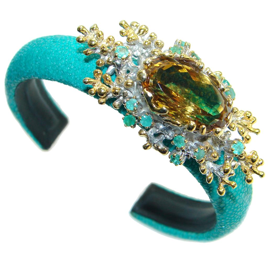 Rare Citrine Emerald 925 Sterling Silver Stingray Leather Bangle bracelet Handmade